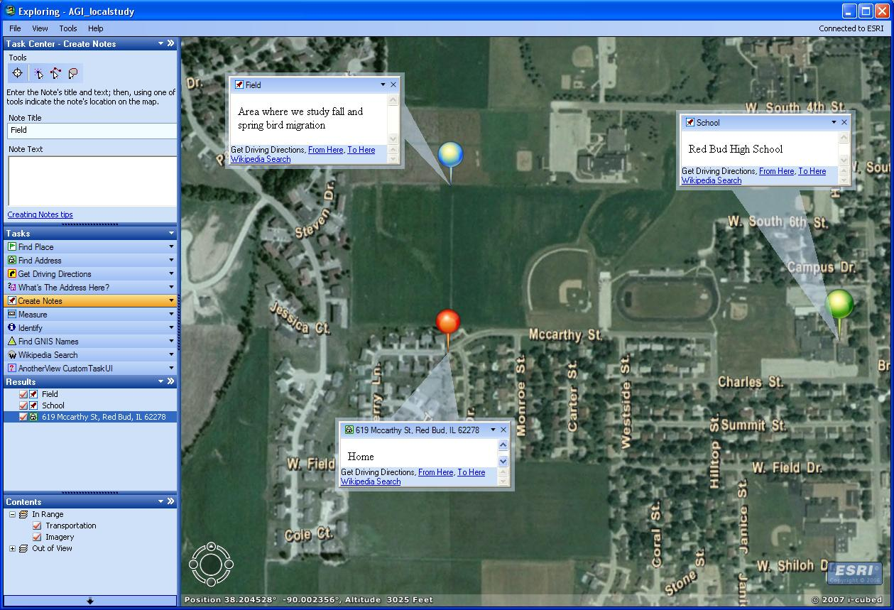 Example of ArcGIS Explorer software.