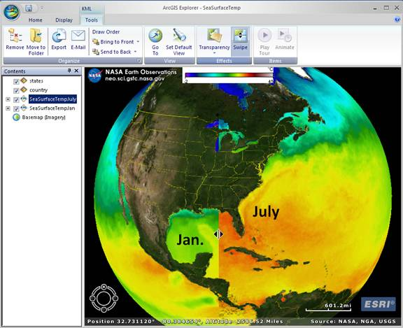 Using NASA data, ArcGIS Explorer allows you to compare temporal differences.