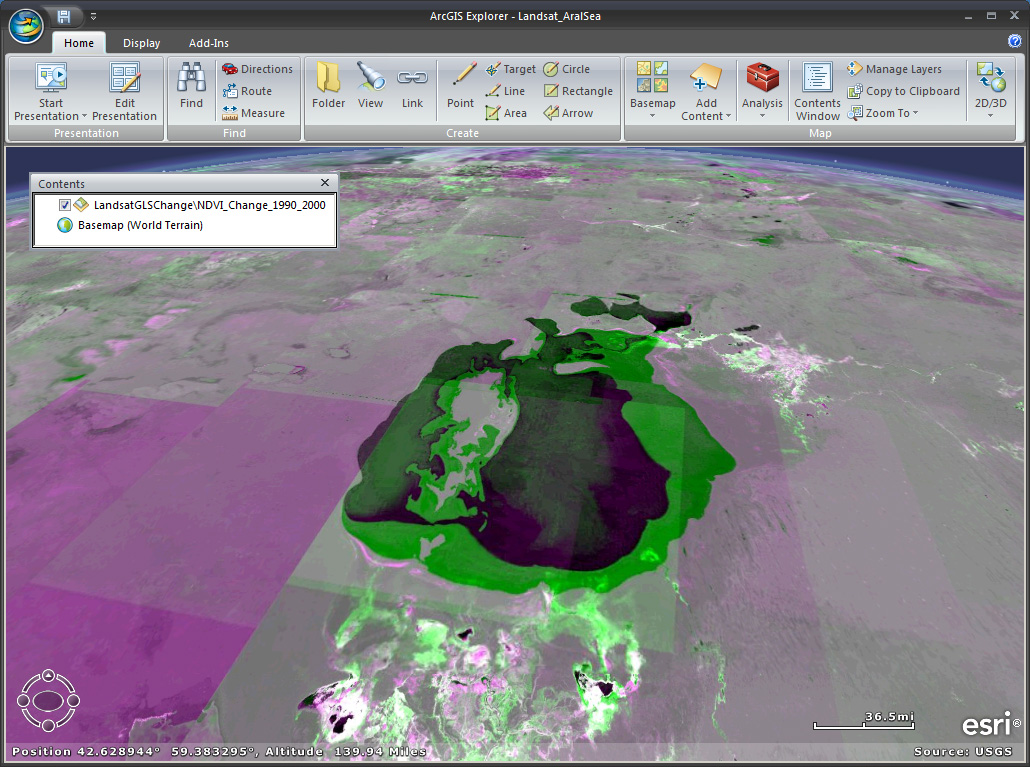 3-D oblique view of the Aral Sea using ArcGIS Explorer