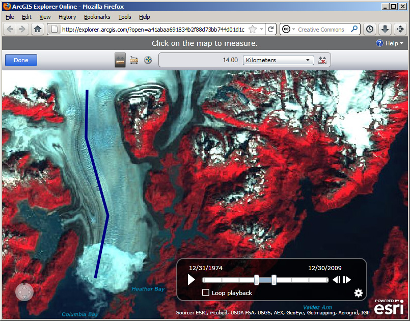 The Columbia Glacier in Alaska is receding quickly, shown in ArcGIS Explorer Online.