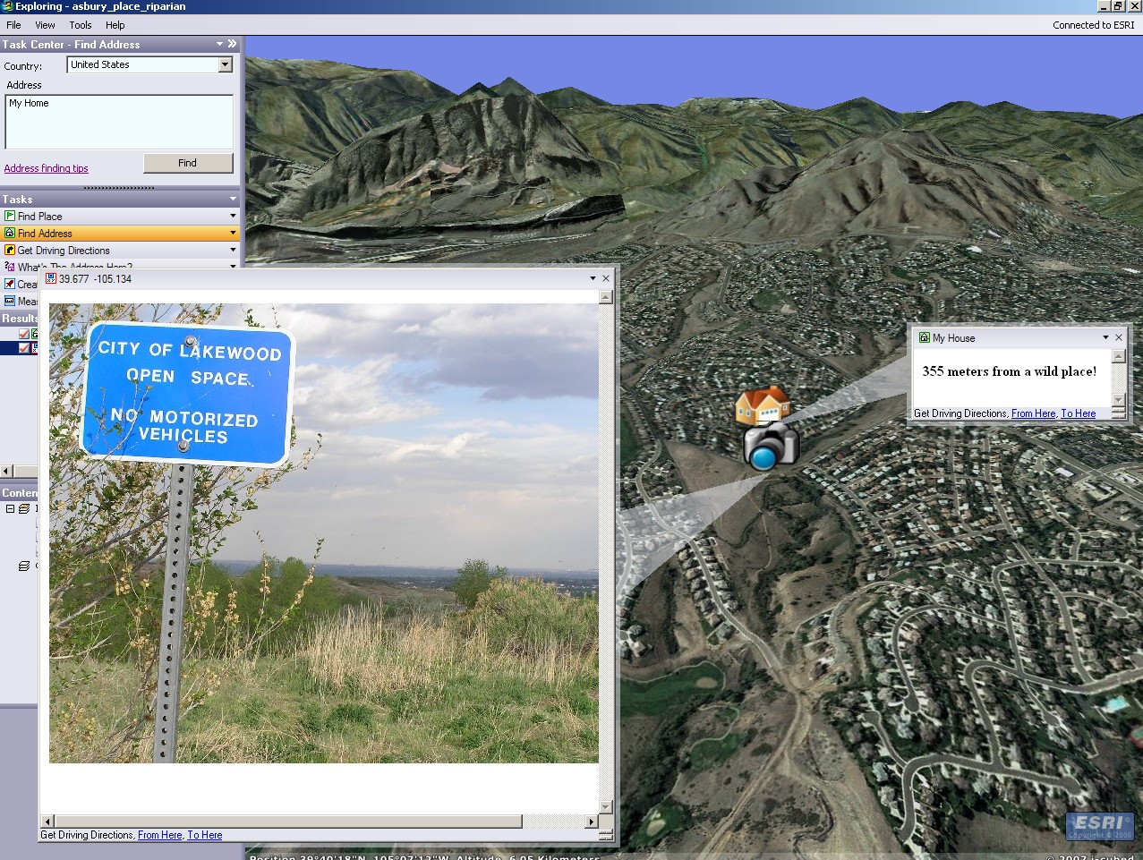 Example of ArcGIS Explorer software adding multimedia content.