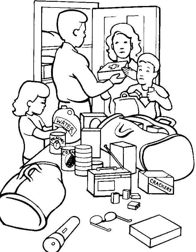 A family coloring sheet.