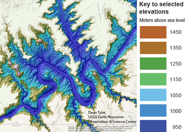 A colorful, digitally rendered elevation map of Lake Powell.
