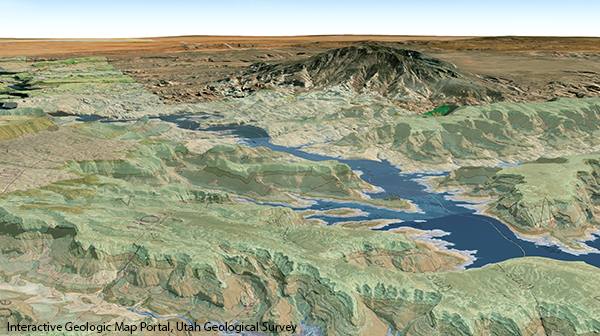 A digital rendering of an arid landscape with hills and steep canyons and a lake.