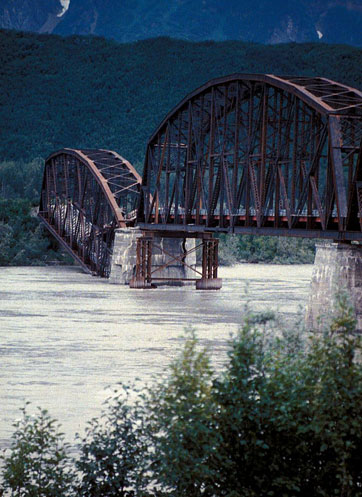 Image of earthquake damage to a bridge.