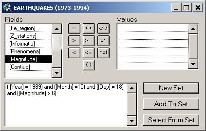 Earthquake query window