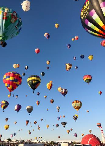Hot air balloons of travelers from all over the world during the International Balloon Fiesta in Albuquerque, New Mexico.