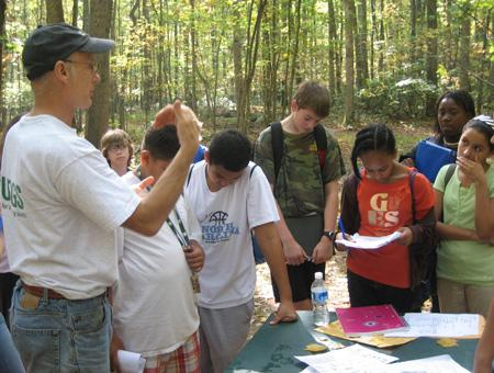 Image of students at a field station