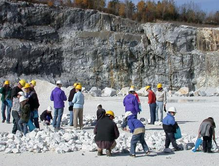 Image of visitors observing rocks, OMYA 2008